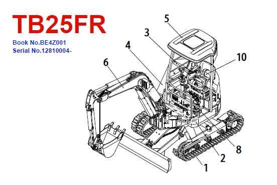 Takeuchi TB25FR Mini Excavator Parts Manual