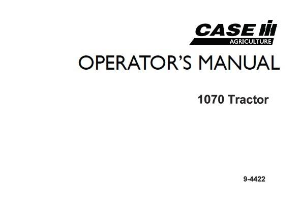 Case IH 1070 Tractors Operator's Manual