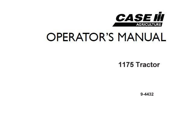 Case IH 1175 Tractors Operator's Manual