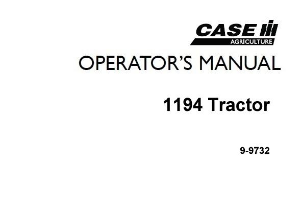 Case IH 1194 Tractors Operator's Manual