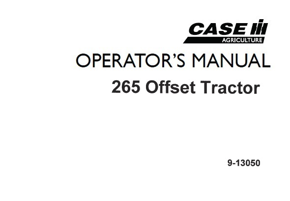 Case IH 265 Offset Tractor Operator's Manual