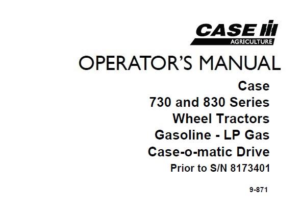 Case IH 730 , 830 Series Gasoline