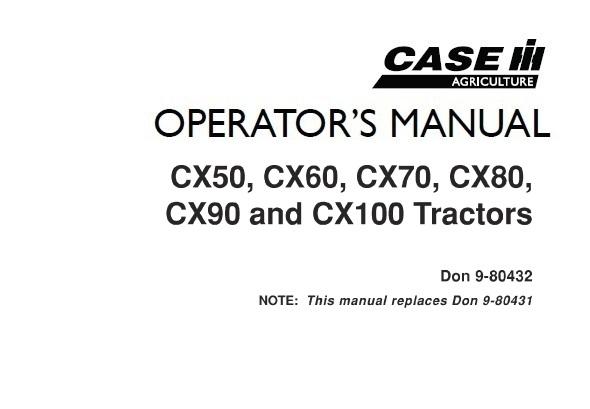 Case IH CX50, CX60, CX70, CX80, CX90, CX100 Tractors