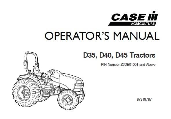 Case IH D35, D40, D45 Tractors Operator's Manual