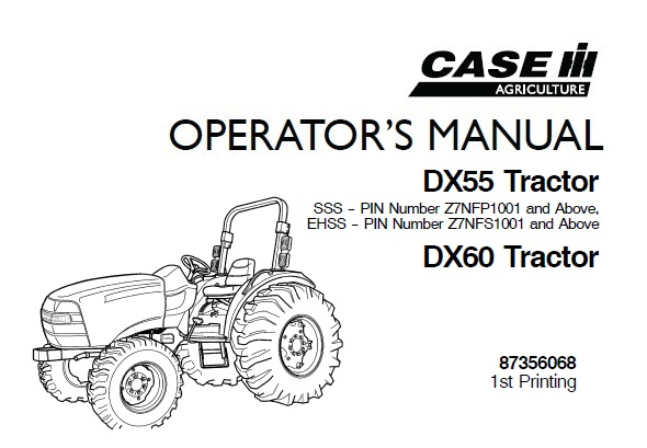 Case IH DX55 , DX60 Tractors Operator's Manual