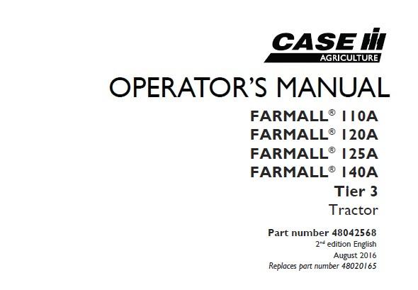 Case IH FARMALL 110A , FARMALL 120A , FARMALL 125A