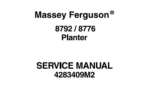 Massey Ferguson 8792 , 8776 Planter Workshop Service