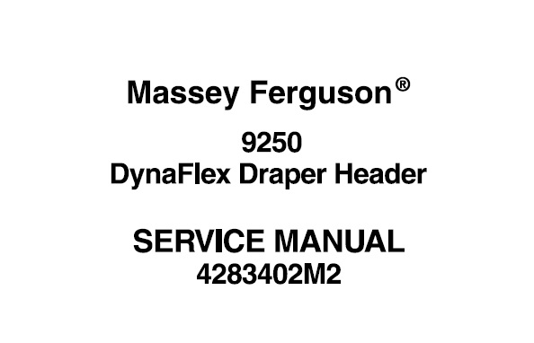 Massey Ferguson 9250 DynaFlex Draper Header Workshop