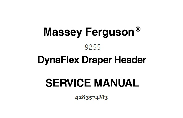Massey Ferguson 9255 Dynaflex Draper Header Workshop