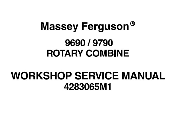 Massey Ferguson 9690 , 9790 Rotary Combines Workshop