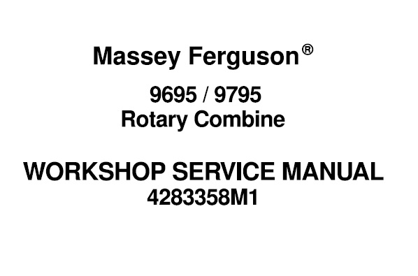 Massey Ferguson 9695 , 9795 Rotary Combines Workshop