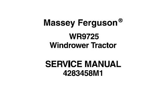 Massey Ferguson WR9725 Windrower Tractor Workshop Service