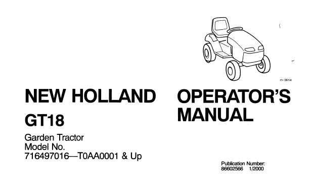 New Holland GT18 Garden Tractor Operator's Manual