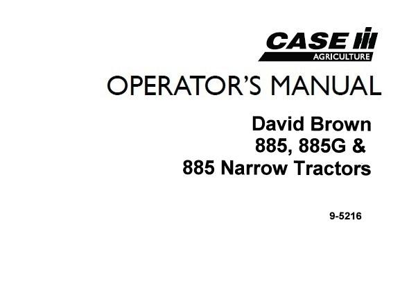 Case IH David Brown 885 , 885G & 885 Narrow Tractors