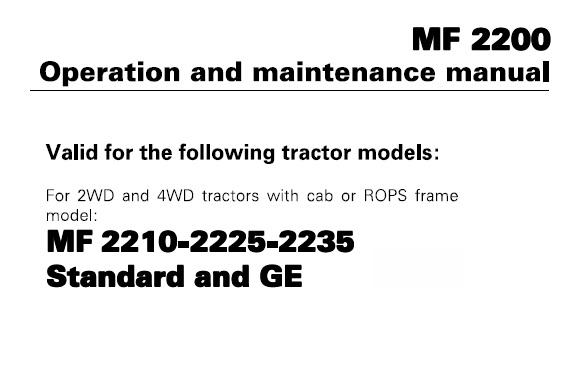 Massey Ferguson MF2210 – MF2225