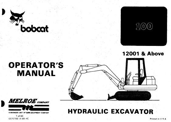 Bobcat 100 Hydraulic Excavator Operation and Maintenance
