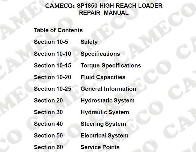 Cameco SP1850 High Reach Loader Service Repair Manual