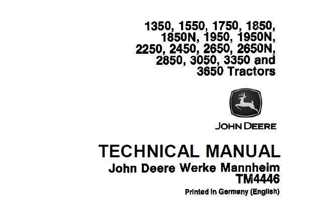 John Deere 1350, 1550, 1750, 1850, 1850N, 1950, 1950N
