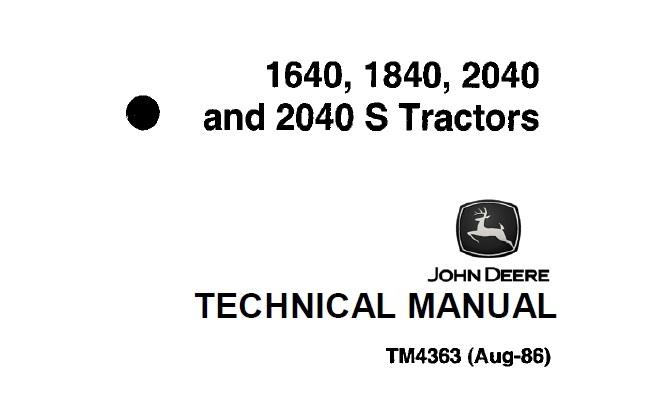 John Deere 1640, 1840, 2040, 2040S Tractors Technical