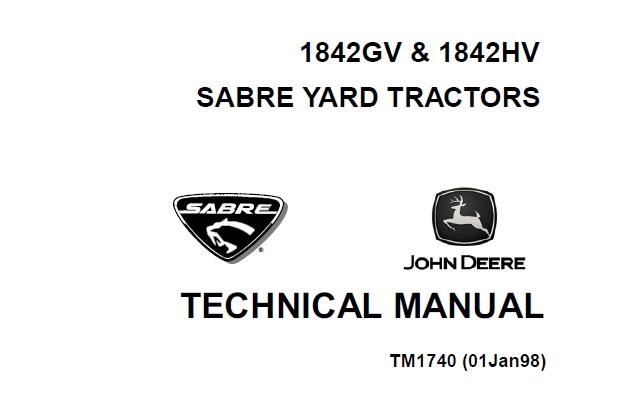John Deere 1842GV, 1842HV Sabre Yard Tractors Technical