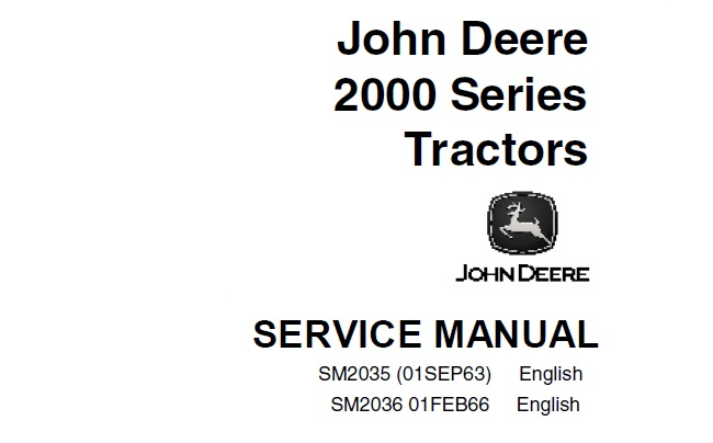 John Deere 2000 Series Tractors Service Repair Manual