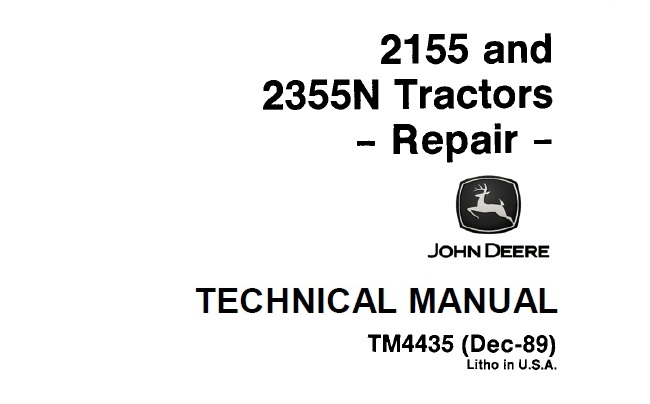 John Deere 2155, 2355N Tractors Repair Technical Manual