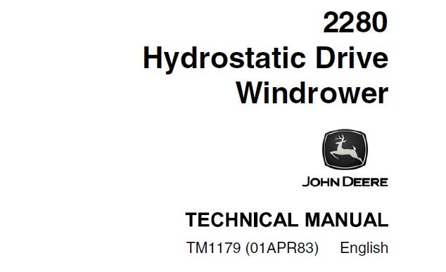 John Deere 2280 Hydrostatic Drive Windrower Technical