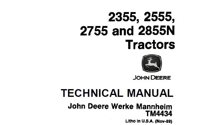 John Deere 2355, 2555, 2755, 2855N Tractors Technical