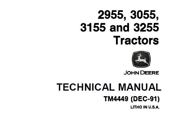 John Deere 2955, 3055, 3155, 3255 Tractors Technical