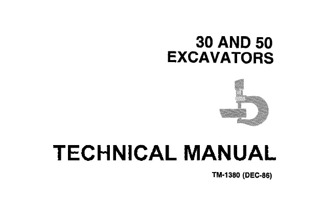 John Deere 30, 50 Excavators Technical Manual (TM1380