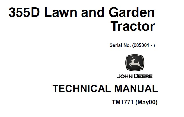 John Deere 355D Lawn & Garden Tractors Technical Manual