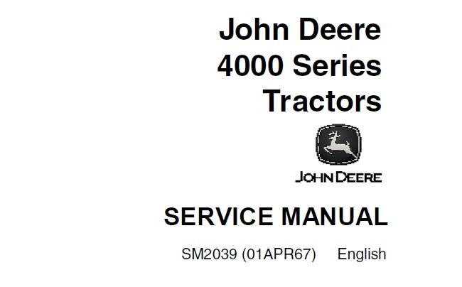 John Deere 4000 Series Tractors Service Repair Manual