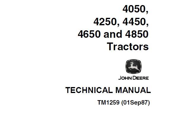 John Deere 4050, 4250, 4450, 4650, 4850 Tractors Operation
