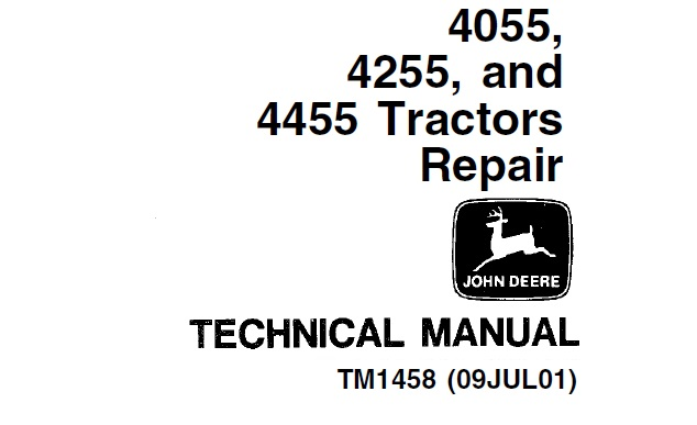 John Deere 4055, 4255, 4455 Tractors Repair Technical