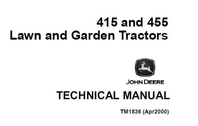 John Deere 415, 455 Lawn & Garden Tractors Technical
