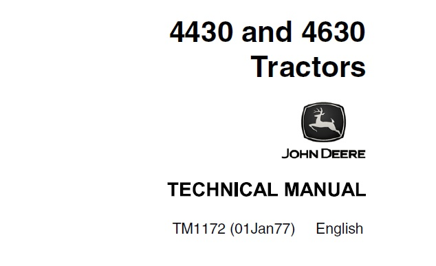 John Deere 4430 & 4630 Tractors Technical Manual (TM1172
