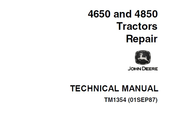 John Deere 4650, 4850 Tractors Repair Technical Manual
