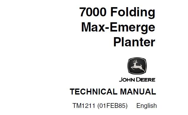 John Deere 7000 Folding Max-Emerge Planter Technical