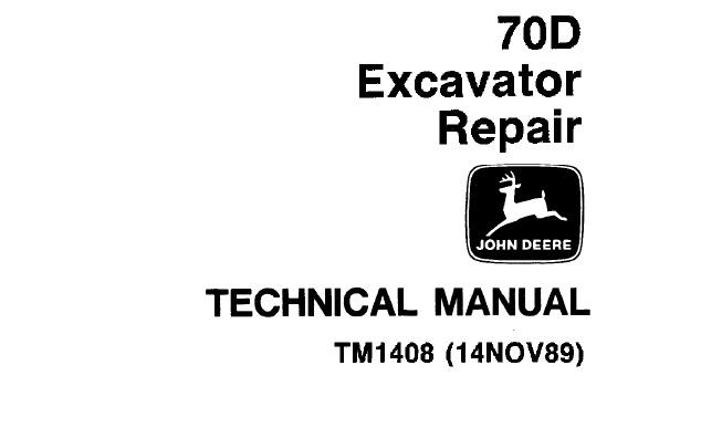 John Deere 70D Excavator Repair Technical Manual (TM1408