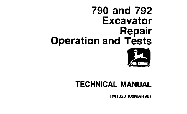 John Deere 790, 792 Excavator Repair, Operation and Tests
