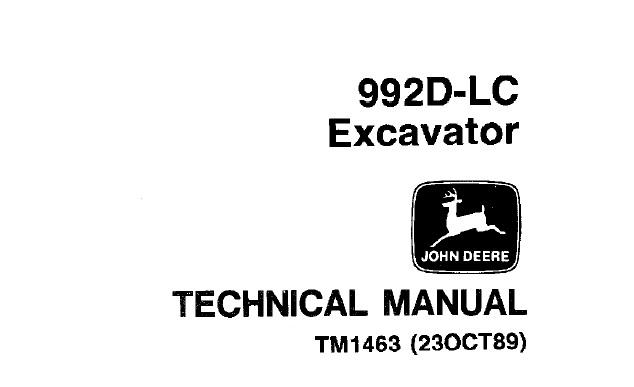 John Deere 992D-LC Excavator Technical Manual (TM1463
