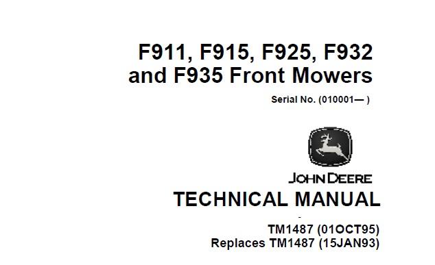 John Deere F911, F915, F925, F932, F935 Front Mowers