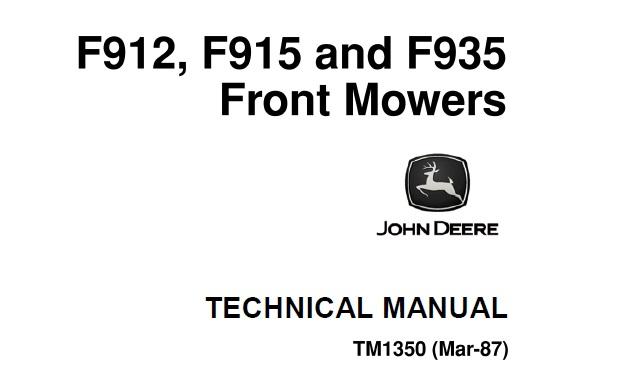 John Deere F912, F915, F935 Front Mowers Technical Manual