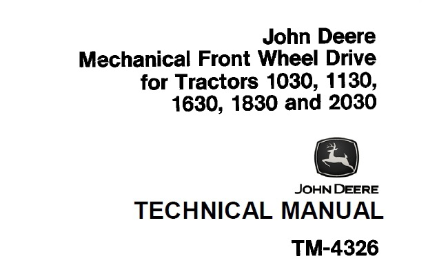 John Deere Mechanical Front Wheel Drive (for Tractors 1030