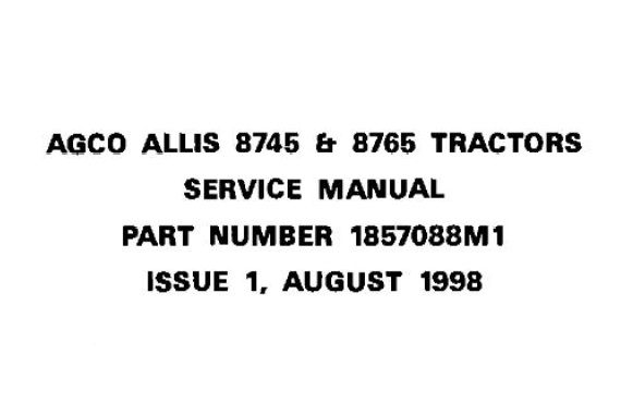 Agco Allis 8745 & 8765 Tractor Service Repair Manual