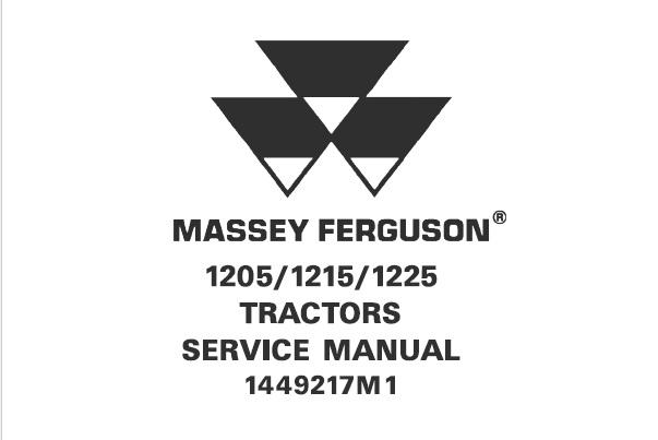 Massey Ferguson 1205 / 1215 / 1225 Tractors Service Repair