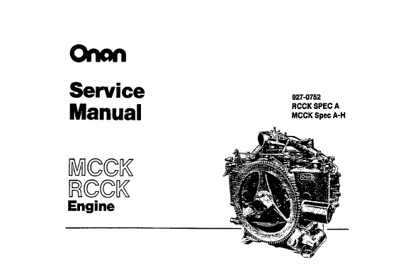 Onan MCCK, RCCK Engine Service Repair Manual