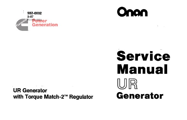 Onan UR Generator Service Repair Manual