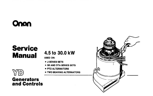 Onan YD Generators and Controls (4.5 to 30.0 kW) Service