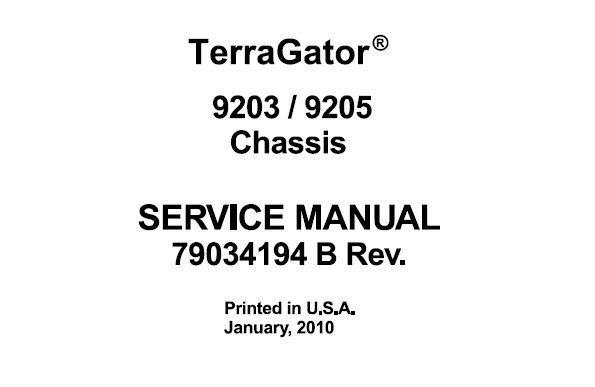 Agco Ag-Chem 9203 , 9235 Terragator Chassis Service Repair